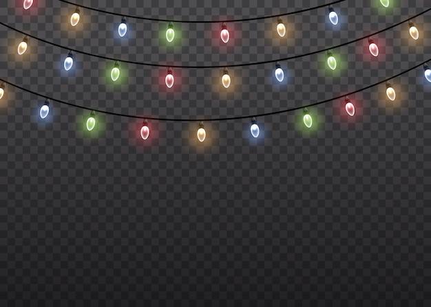 Lâmpada de luz de brilho colorido em cordas de fio isoladas de fundo transparente. decorações de guirlandas. luzes isolaram elementos de design realista.