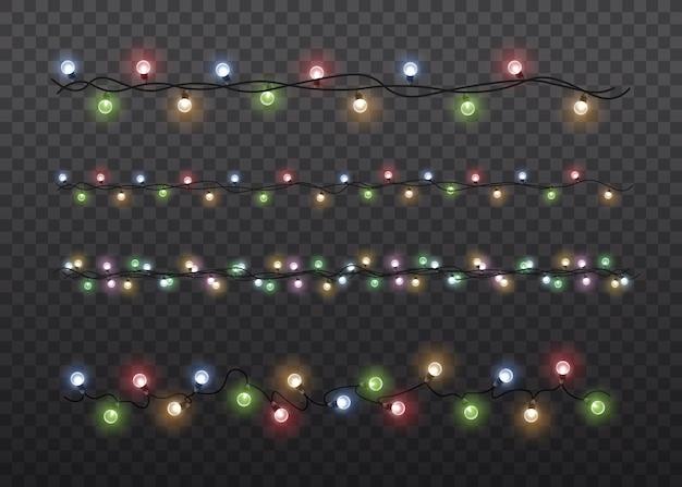 Lâmpada de luz de brilho colorido em fundo transparente de cordas de arame.
