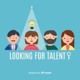 Lâmpada de luz procurando fundo de talento