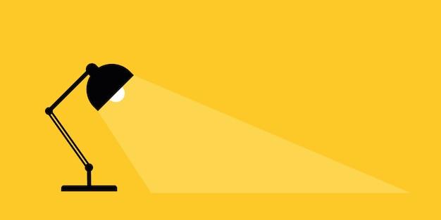 Lâmpada de mesa de escritório. lugar para o seu texto. lâmpadas acendem luzes.