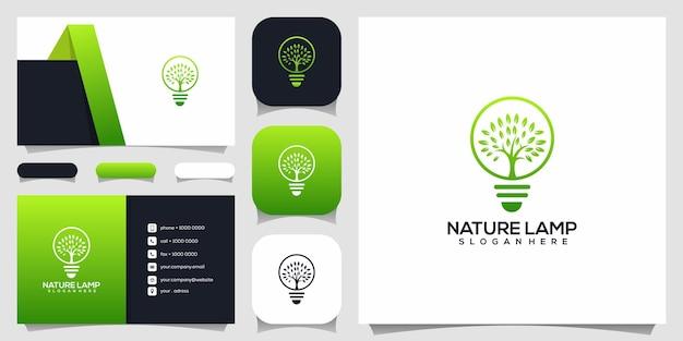 Lâmpada de natureza criativa, lâmpada combinada com modelo de design de logotipo de árvore