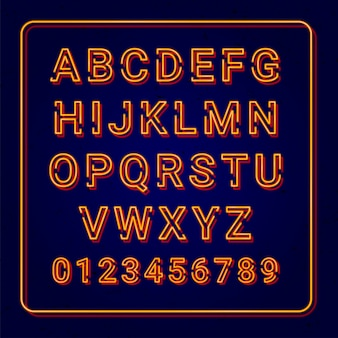 Lâmpada de néon laranja alfabeto