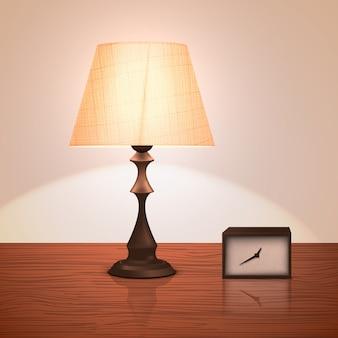 Lâmpada de noite realista ou pé de pé sobre uma mesa ou mesa de cabeceira com um relógio.