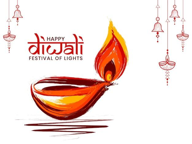 Lâmpada de óleo criativa feliz de diwali.