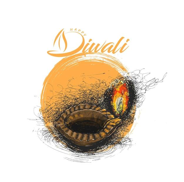 Lâmpada de óleo - diya, festival de diwali, ilustração em vetor esboço desenhado à mão.