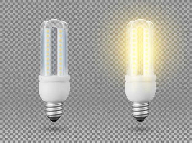 Lâmpada de poupança de energia isolada, objeto em um fundo transparente, o efeito da luz e brilho. objeto 3d realista, símbolo de criatividade e idéias. conceito de negócio ou inicialização.