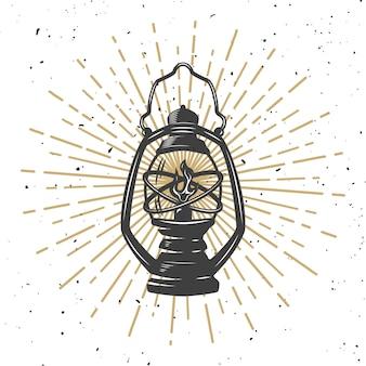 Lâmpada de querosene vintage com linhas de luz. elemento para cartaz, cartão de felicitações. ilustração