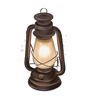 Lâmpada de querosene vintage de tintas multicoloridas desenho colorido lanterna realista