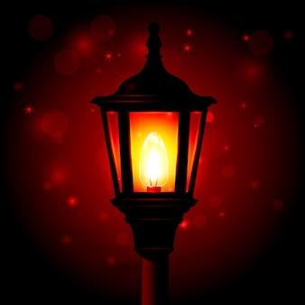Lâmpada de rua - lanterna no mastro e fundo manchado