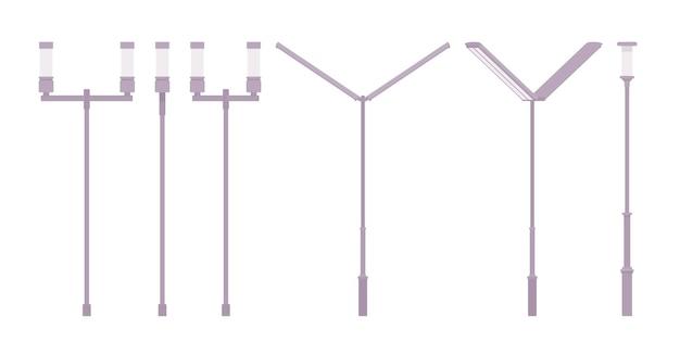 Lâmpada de rua moderna de prata. novo poste de luz, poste de luz alto que ilumina a estrada para uma caminhada e direção seguras. arquitetura paisagística, projeto urbano de sistema de iluminação. ilustração em vetor estilo simples dos desenhos animados