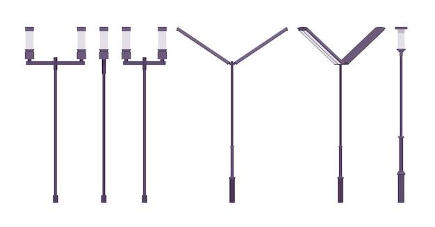 Lâmpada de rua moderna preta. poste de luz da cidade, poste de iluminação alta estrada iluminada para caminhar e dirigir com segurança. arquitetura paisagística, design urbano do sistema de iluminação. ilustração dos desenhos animados do estilo
