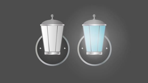 Lâmpada de rua. poste de luz de metal. ilustração vetorial realista.