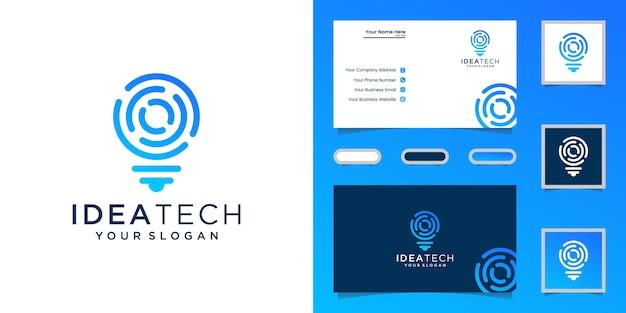 Lâmpada de tecnologia de logotipo digital ideia e cartão de visita