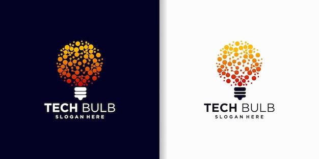 Lâmpada de tecnologia, inspiração para design de logotipo de tecnologia