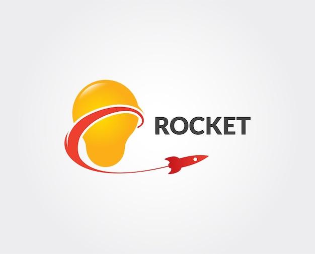 Lâmpada de vetor e modelo de logotipo de foguete