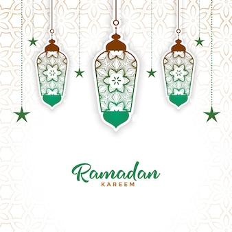 Lâmpada decorativa islâmica ramadan kareem fundo