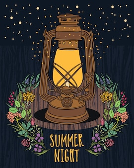 Lâmpada do vintage da noite do céu da noite do verão com mosca noturna
