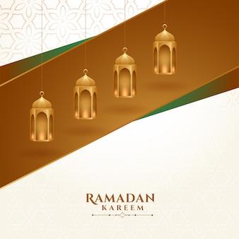 Lâmpada dourada islâmica decoração ramadan kareem fundo