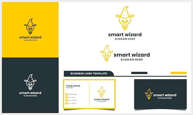 Lâmpada e assistente com conceito de design de logotipo de arte de linha e modelo de cartão de visita