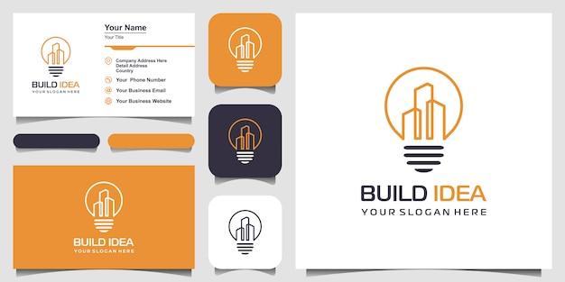 Lâmpada e cidade com vetor de estilo de arte de linha. construir o logotipo da ideia e o design do cartão de visita
