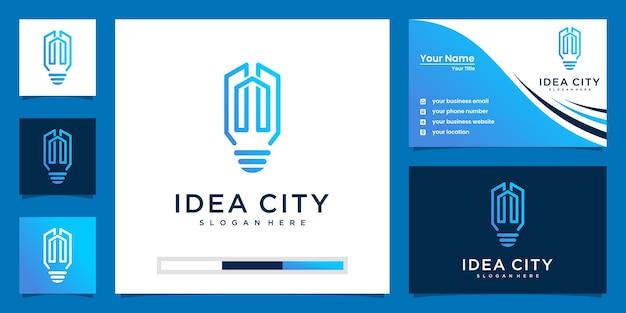 Lâmpada e edifício com estilo de linha de arte. construir o logotipo da ideia e o design do cartão de visita
