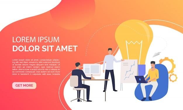 Lâmpada e equipe da empresa trabalhando no escritório e texto de exemplo
