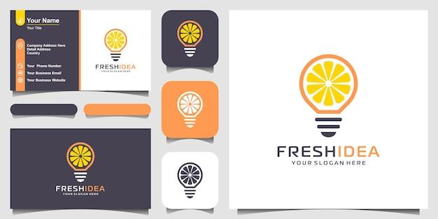 Lâmpada e fatia de limão design de logotipo e cartão de visita da fresh idea