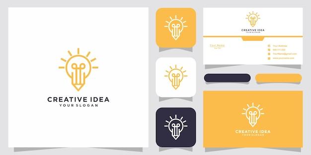 Lâmpada e logotipo de lápis e cartão de visita