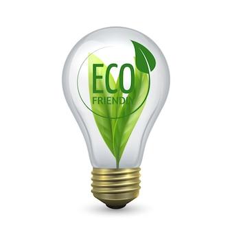 Lâmpada ecológica. bulbo de vidro com folha verde dentro. lâmpada de vetor isolada em fundo branco, conceito de economia de energia