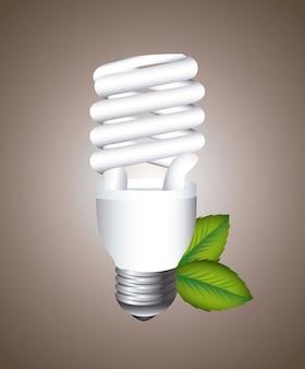 Lâmpada elétrica com folhas sobre ilustração vetorial de fundo marrom