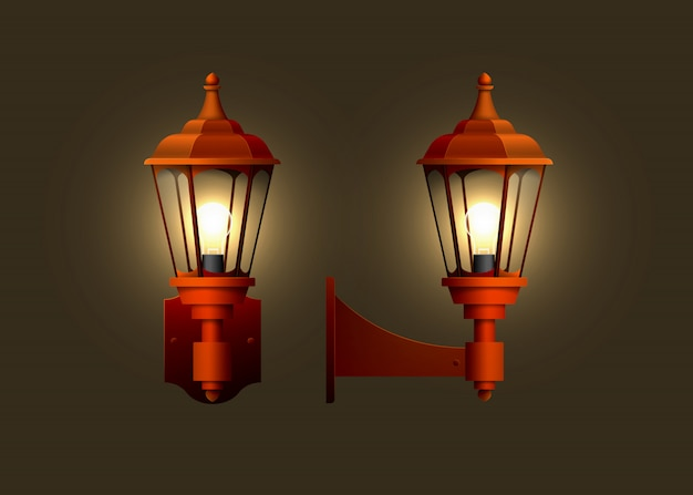 Lâmpada elétrica de parede realista vintage.