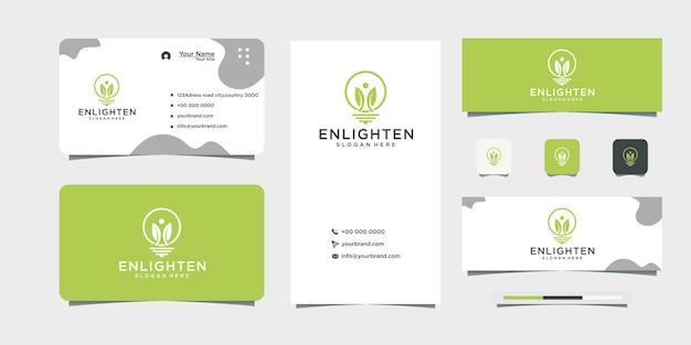 Lâmpada elétrica design de logotipo verde design de cartão de visita
