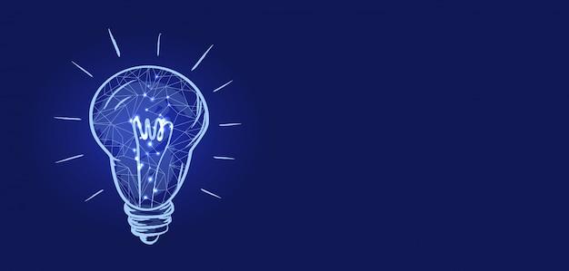Lâmpada elétrica e ilustração de texto