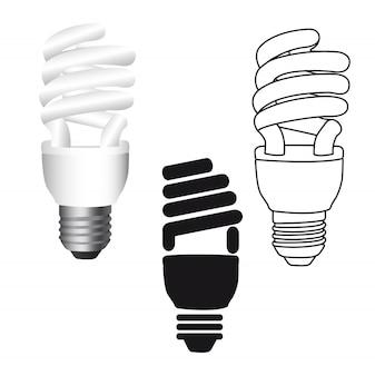 Lâmpada elétrica isolada sobre ilustração vetorial de fundo branco