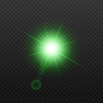 Lâmpada elétrica ou raios de estrela piscam ilustração de efeito realista de luz em fundo transparente. elemento de iluminação brilhante redondo abstrato do feriado.