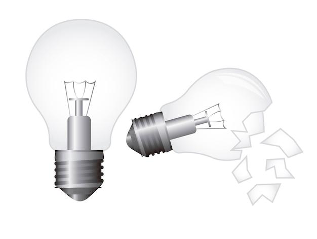 Lâmpada elétrica quebrada e lâmpada nova