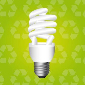 Lâmpada elétrica sobre reciclar ilustração vetorial de fundo