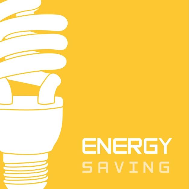 Lâmpada elétrica sobre vetor de poupança de energia de fundo amarelo