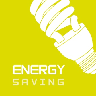 Lâmpada elétrica sobre vetor de poupança de energia de fundo verde