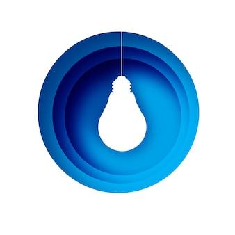 Lâmpada em estilo de papel artesanal. lâmpada elétrica de origami. cor branca brilhante para criatividade, inicialização, brainstorming, negócios. quadro em camadas azuis do círculo. .