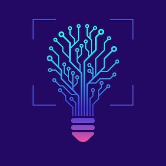 Lâmpada em forma de placa de circuito impresso com efeitos brilhantes. hi tech design concept