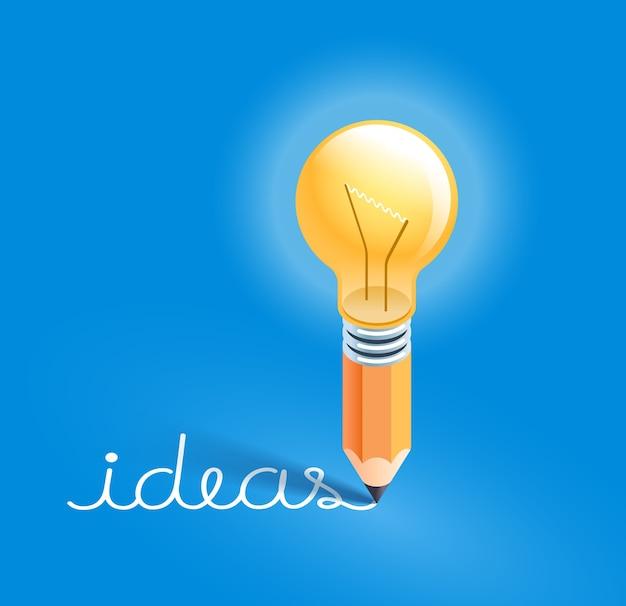 Lâmpada em lápis escrevendo texto de ideias