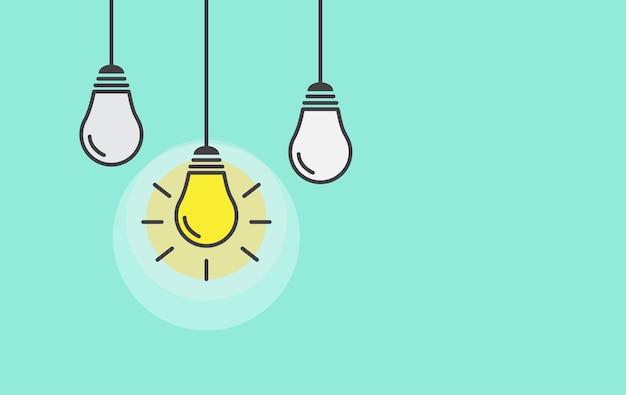 Lâmpada em verde. ideia criativa e conceito de inspiração.