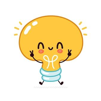 Lâmpada engraçada bonita, personagem da lâmpada.