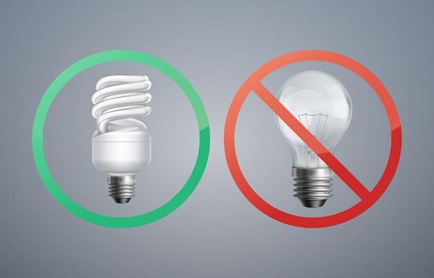 Lâmpada fluorescente de conceito de ilustração vetorial contra lâmpada incandescente para economia de energia