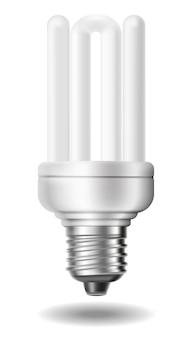 Lâmpada fluorescente economizadora de energia com sombras isoladas no fundo branco.