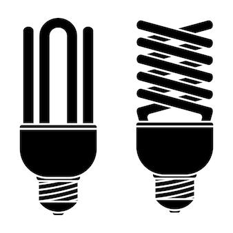 Lâmpada fluorescente para projeto de conceito. ícone de lâmpada. idéia de design. lâmpada econômica. lâmpada luminescente em estilo de contorno. glyph. ilustração vetorial isolada em fundo branco