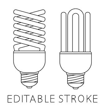 Lâmpada fluorescente para projeto de conceito. ícone de lâmpada. idéia de design. lâmpada econômica. lâmpada luminescente em estilo de contorno. ilustração vetorial isolada em fundo branco