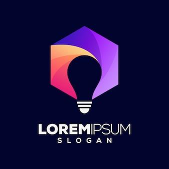 Lâmpada hexágono colorido logotipo design