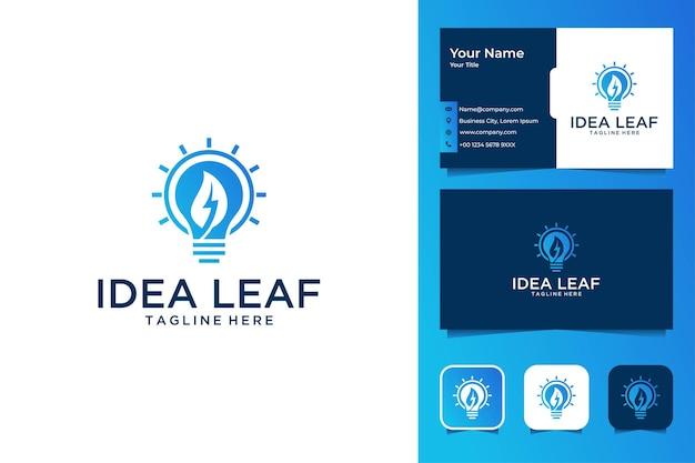 Lâmpada idea com design de logotipo de folha e cartão de visita